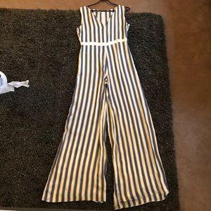 Stefanel blue beige and white striped jumpsuit